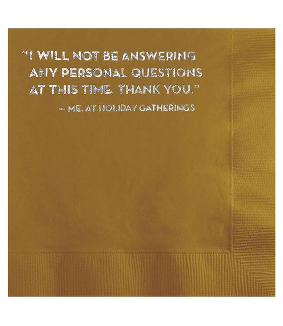 personal questions napkins. #590