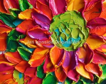 Oil Painting Magenta Orange daisy Impasto Painting  Canvas wall decor