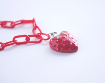 Strawberry Charm on Lightweight Red Curb Chain Bracelet
