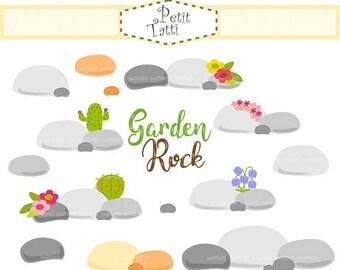ON SALE Rock Clip Art _ Stone Clip Art. Garden Rock Flowers Clip Art,Summer Flowers clip art, Garden Clip Art, instant download