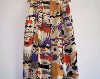 1980s bold african plains animal print pleated skirt