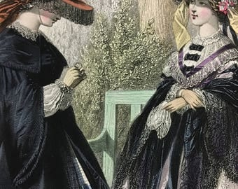 Lovely 1860s Victorian Civil War Era French Fashion plate