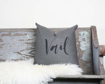 "18""x18"" Dark Gray Linen with Black Ink ""Vail"" Pillow Cover 