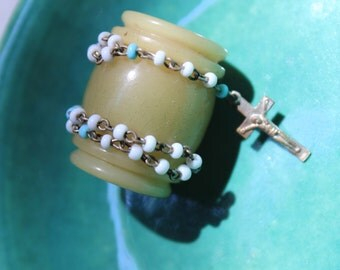 Vintage Rosary with Celluloid Case Glass seed Beads Miniature VINTAGE by Plantdreaming