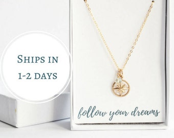 Collage Graduation Gift For Her - Follow Your Dreams - New Job Gift - Gold Compass Necklace - Gift for High School Graduation - Goodbye Gift