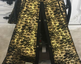 Black and Gold Lace car seat canopy   / Car seat cover / car seat canopy / carseat cover / carseat canopy