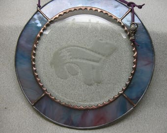 Sandblasted southwest bear stained glass suncatcher