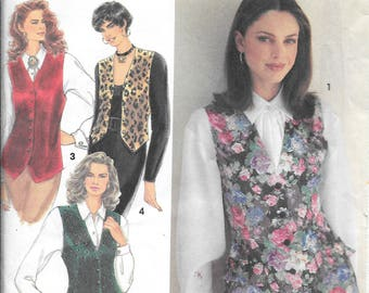 Simplicity 8621 Vintage Out of Print Misses Lined Vests Pattern in Three Lengths Uncut (10-14)