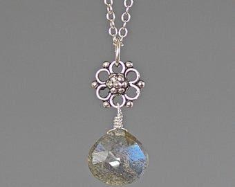 Labradorite Pendant - Bali Silver Pendant - Labradorite and Silver - Labradorite Jewelry - Bali Silver Necklace - Wire Wrapped Pendant