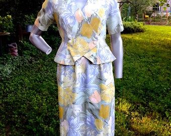 80s Skirt & Jacket Set, 80s Suit, Vintage Suit, 80s Jacket/ Vintage Skirt by Petrina and Company Size 8