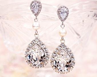 Luxe Swarovski Crystal Earrings, Bridal Wedding Earrings, Bridesmaid Earrings, Long, Pearl, Reine