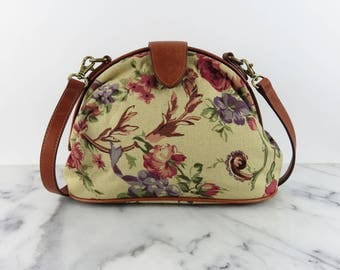 Vintage Floral Tan Leather Purse Shoulder Bag Mini Doctor Bag