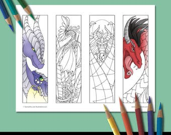 Coloring Bookmarks, Dragon Coloring Pages, Printable Bookmarks, Adult Coloring, Coloring Pictures, Fantasy Bookmark, Set 3