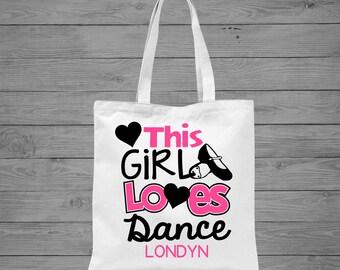 This Girl Loves Dance Tote Bag | Dance Bag | Ballet Bag | Gift for Dancer | Dance Gift | Personalized Dance Bag | Recital Gift | Canvas Tote