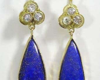 Handmade Diamond and Lapis Lazuli 18 k Gold Earrings