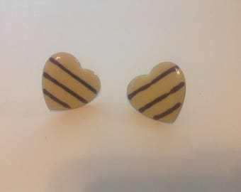 Be My Valentine!  Vintage heart shaped pierced earrings FREE US Shipping only