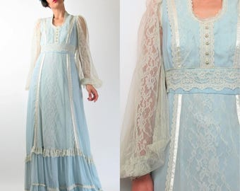 70s Victorian Lace Dress Boho Prom Maxi Dress Vintage Bridesmaid Dress Light Powder Blue Festival Empire Waist Formal Prairie Dress S E7089