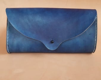 Hand Stitched Leather Clutch in Indigo
