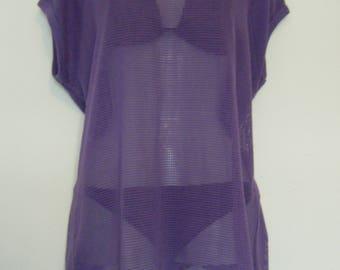 1980s Purple TAN through SWIMSUIT COVERUP, oversized sheer mesh tee / beach mini dress, size l
