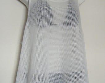 1980s White TAN through SWIMSUIT COVERUP, oversized sheer mesh tank top / beach mini dress, size l