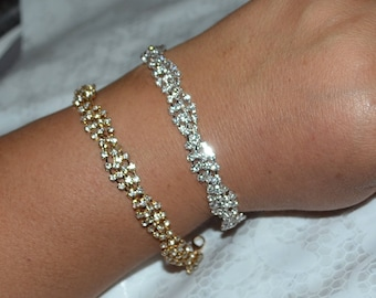 Silver or Gold Crystal Wedding Bracelet, Bridal Bangle Bracelet, anniversary bracelet, crystal bracelet, sparkly bracelet, Birthday gift