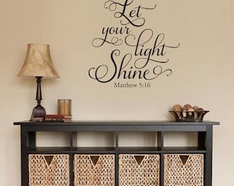 Good Let Your Light Shine Wall Decal   Matthew 5:16   Christian Wall Art Sticker Part 13