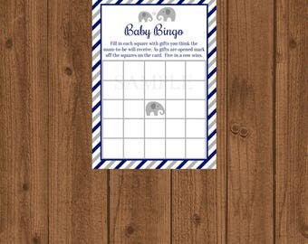 Instant Download Elephant Boy Baby Shower, Elephant Baby BINGO, Baby Shower Game, Baby Bingo