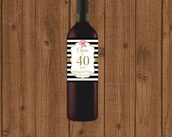 40th Anniversary Wine Label, Cheers to 40 Years Wine Label, Personalized Wine Label, Black White Striped 40th Wine Label, Floral 40th Wine