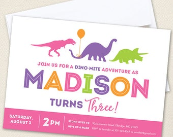Pink Dinosaur Party Invitations - Professionally printed *or* DIY printable