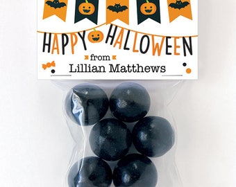 Halloween Treat Labels & Tags - Happy Halloween Banners - Set of 24 personalized paper tags and 24 treat bags