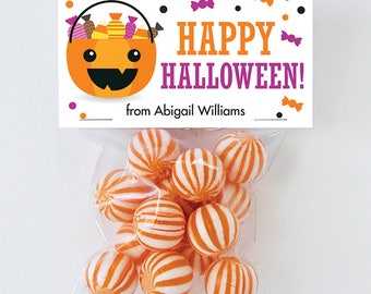 Halloween Treat Labels & Tags - Happy Halloween Treat Pail and Candy - Set of 24 personalized paper tags and 24 treat bags