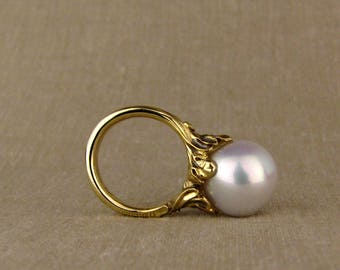 Giant Rococo Pearl Solitaire (14K gold + diamonds) Made to Order