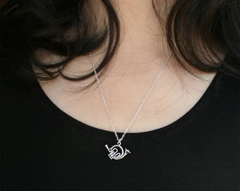 Sterling Silver French Horn Necklace, Music Instrument Necklace