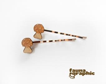 Mushroom Fungus Toadstool  Hairpin Hairslide Bobbypin Boho Nature Style