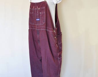 Wine Mens XXL Bib OVERALL Pants - Dark Red Dyed Upcycled Big Smith Cotton Denim Overalls - Adult Mens womens Extra Large XL (52 w x 29 L)