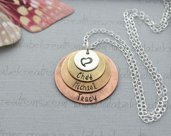 Four Layered Disc Necklace, Mixed Metals Necklace, Mommy Necklace, Mothers Necklace Personalized Necklace with Kids Names Necklace