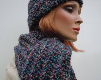 Mixed Colors Hat Scarf, Hat and Scarf Set, Crochet Hat Scarf Set, Soft Hat Scarf, Winter Hat and Scarf, Cold Weather Set