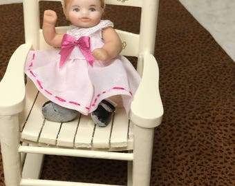 Baby Sarah Miniature Porcelain Doll Baby Girl Doll House Scale 1/12