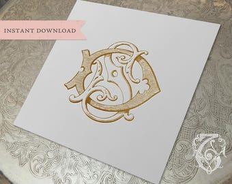 Vintage Wedding Monogram SD DS Digital Download S D