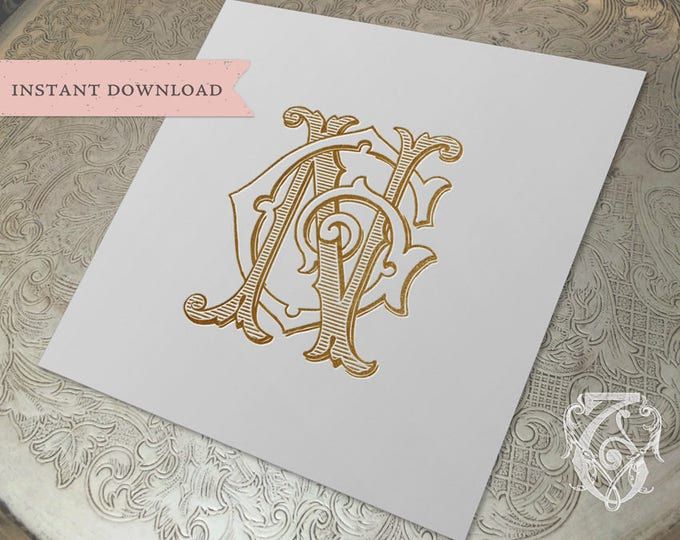 Vintage Wedding Monogram NG GN Digital Download G N