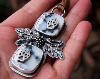 Winter Jewelry Snow Wolf Tracks Pine Cone Sterling Silver Necklace Pendant Dendritic Opal Pine Branches Snow Necklace Woodland Forest