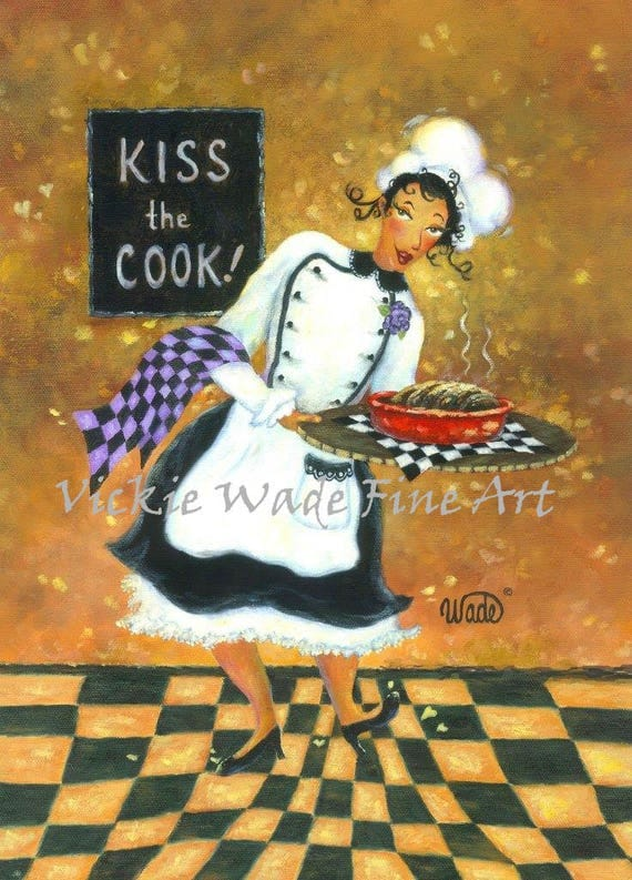 Lady Chef African American Art Print Girl Chef Fat Chef