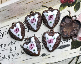 Rustic Hearts, Vintage Guilloche Heart charms pendants, Enamel Heart Pendant, Hand painted Rose, vintagerosefindings, Valentines day, #G123K