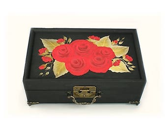 Classic Jewelry Box Hand-Painted Roses, Gold Leaves Hand-Painted Mirror Bridal Jewelry Box, Bride's Jewelry Box Keepsake Gifts for Mom