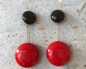 RESERVED for Tim 80s Jewellians Abstract Earrings Oversized Plastic Red & Black Domes Silver Plated Rod Rare Retro Runway Luxe Art To Wear