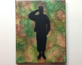 Saluting Soldier Silhouette, Melted Crayon Art Painting