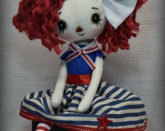 Primitive Folk Art Raggedy Ann doll home decor ooak cute Handmade  collectible Sailor dress Nautical Summer