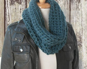 Blue Handknit Cowl Scarf - Chunky Knitted - Blue Winter Scarf - Blue Crochet Cowl - Knitted Acrylic Scarf