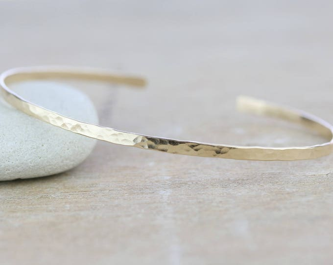 Featured listing image: 14 K Gold Filled Hammered Cuff  | Rose Gold Cuff | Unisex Bracelet