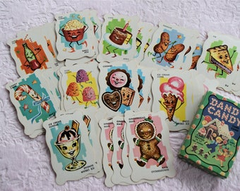 DANDY CANDY CARD Game Complete Deck Box Vintage Anthropomorphic Face Cake Ice Cream Soda Pop Pie Cane Gumdrop Gingerbread Man Cookie Sundae